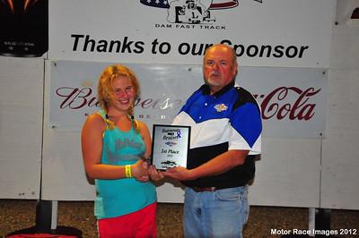 """August 18, 2012 - Oahe Speedway Shootouts w/ Missouri Shores Domestic Violence Center """"Burnouts, Not Bruises"""" Benefit arace"""