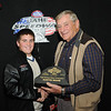 Austin Mohr, Mitchell, SD, Class Champion, 2013 Coca Cola SnapOn High School division, with Milton Morris, Oahe Speedway track owner.
