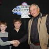 Evan Huse(l), Onida, SD, and Jake Miller(c), Fort Pierre, SD, with Oahe Speedway track owner, Milton Morris.  Evan and Jake tied for 5th place in the 2013 Coca Cola Dakota Supply Group Junior Minor Point standings.