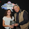 Kimberlee Geuther, Fort Pierre, SD, Runner Up, 2013 Coca Cola BankWest Junior Major division, with Milton Morris, Oahe Speedway track owner. Kimberlee was our 2012 Junior Major division champion.
