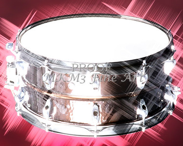 A snare drum under stage lights.