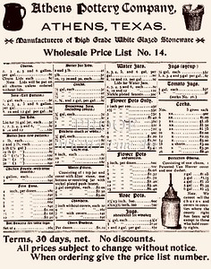 Old Price List for Athens Pottery from early 1900s