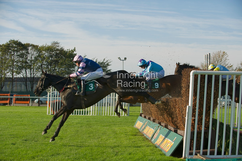 Atouchbetweenacara, Robert Dunne (5) up, holds off Double Dizzy, Mr JA Best (7) in the Betfred 10 Best Odds in Shops Veterans' Handicap Steeple Chase
