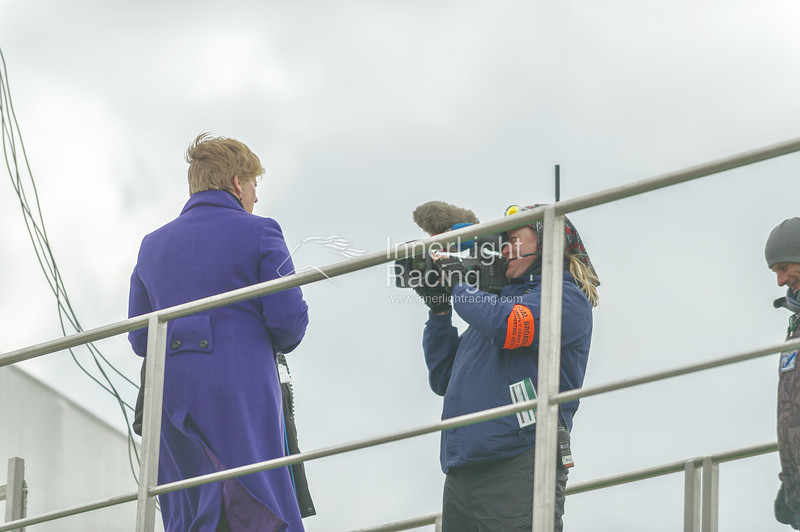 Aintree Grand National Meeting: Friday 5th April 2013: Channel 4 Racing Mobile Studio Clare Balding Presenting