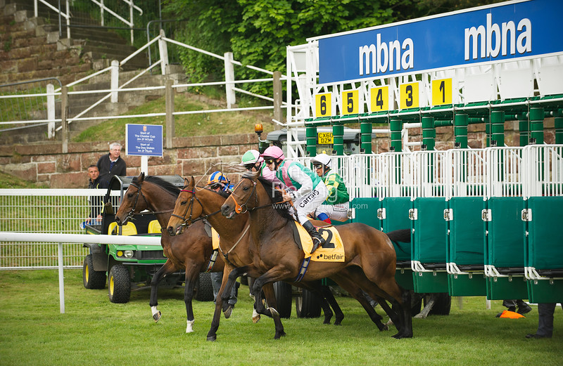 Chester Ladies Day 5th May 2011: Huxley Stakes, Critical Moment (USA), BW Hills ridden by M Hills nearside.