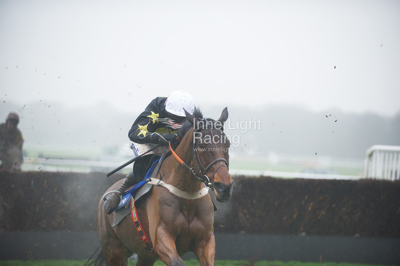 The Blue Sqare Bet Tommy Whittle Handicap Steeple Chase (Class 2) Cannington Brook (IRE) ridden by Tom O'Brien, (black & yellow) just manages to hold off the challenge of Merry King (IRE) ridden by Richie McLernon at the second last fence, to win by a narrow margin.