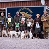 Open Spaniel award winners with landowner Mr Bob byrd (far right) and our judges for the day Mr. Jack llife (far left) and Mr Patrick Morley (right)