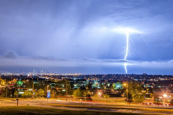 Lightning near Downtown Denver