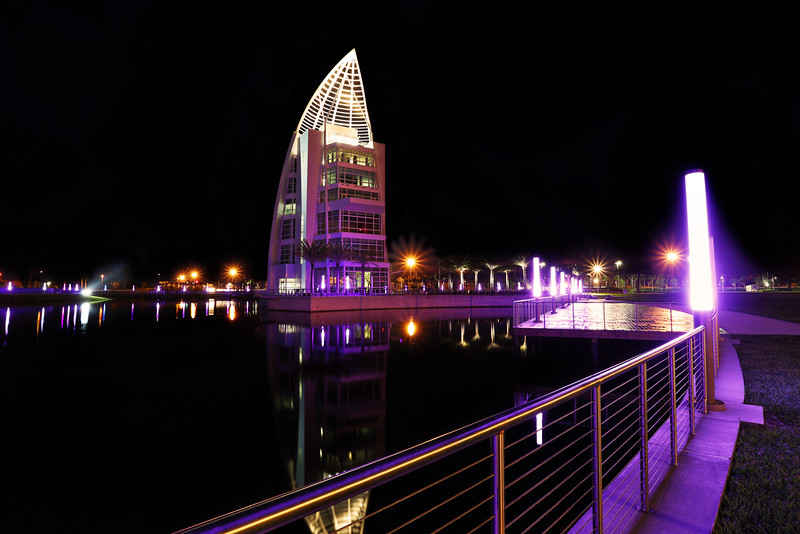 Exploration Tower - Port Canaveral, Florida.  This attractive new building to Port Canaveral is beautifully lit during the evening.