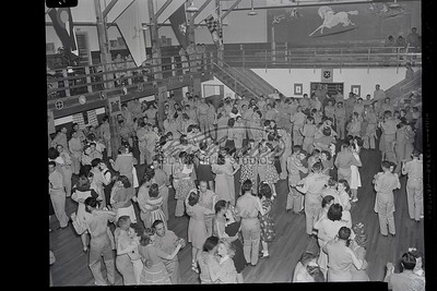 Mural and interior during dance in Custer Hall at Ft. Meade.