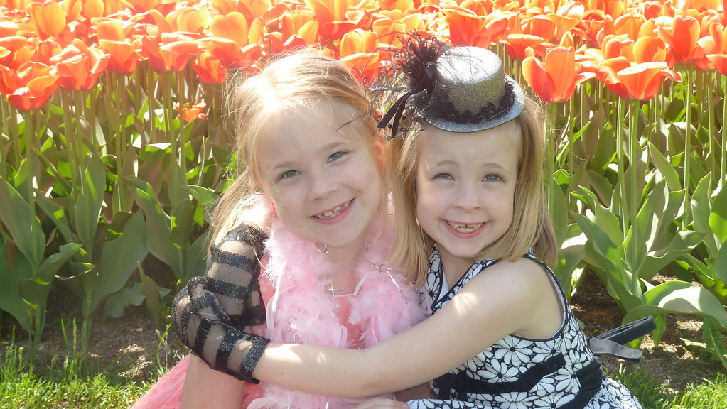 Twins in the Tulips 2 JPG, Twins in the Tulips 2