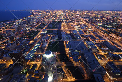 Night time aerial view of Chicago Illinois
