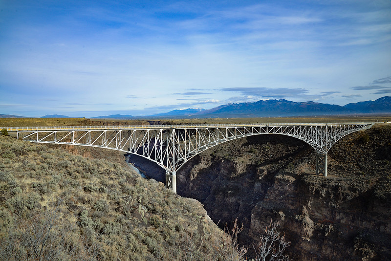 Rio Grande Gorge Bridge on Highway 64 East of Taos NM. December 2014.