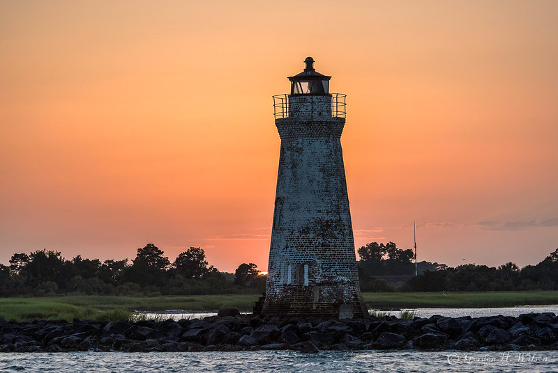 Sun Set, Fort Pulaski and Cockspur Island Light House