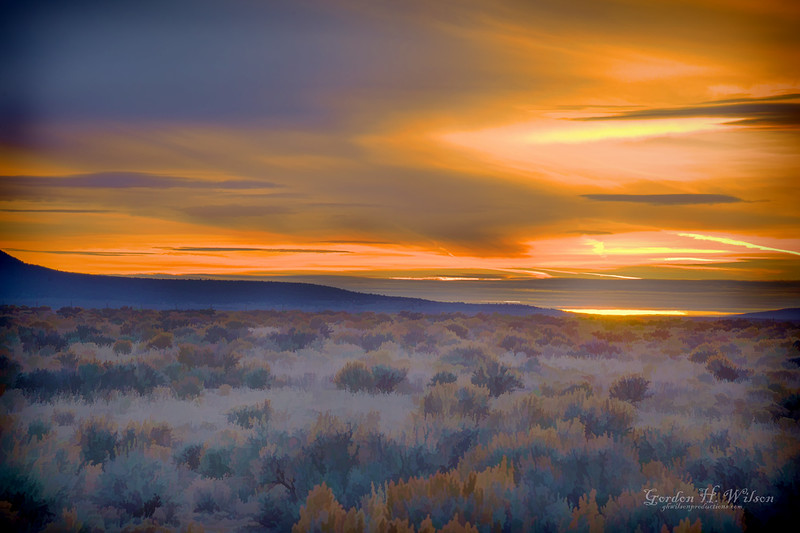 Sunset over the Taos Plateau and Carson National Forest.