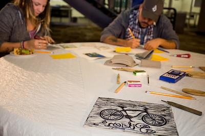 Guests making prints.