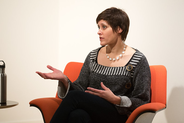 Sarah Lindley during artist talk