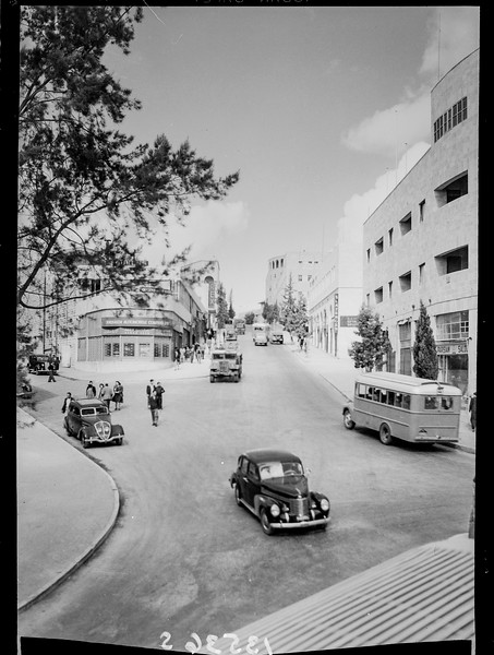 Princess Mary Street with Rex Cinema in background, West Jerusalem.  1940-1946