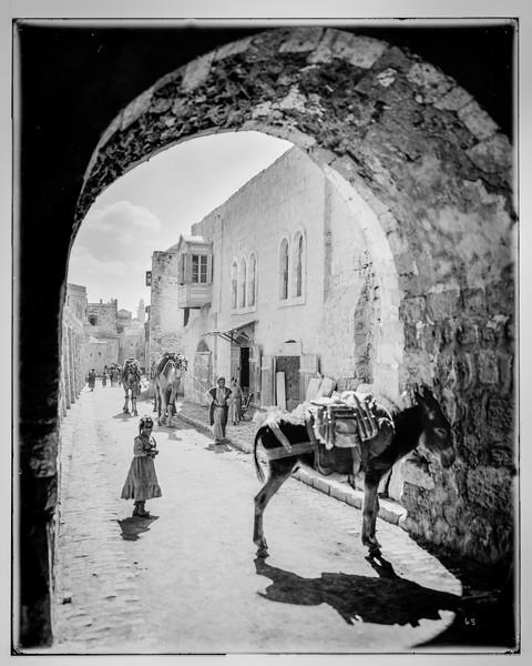 Jerusalem (El-Kouds). Street of arches.  1898-1914