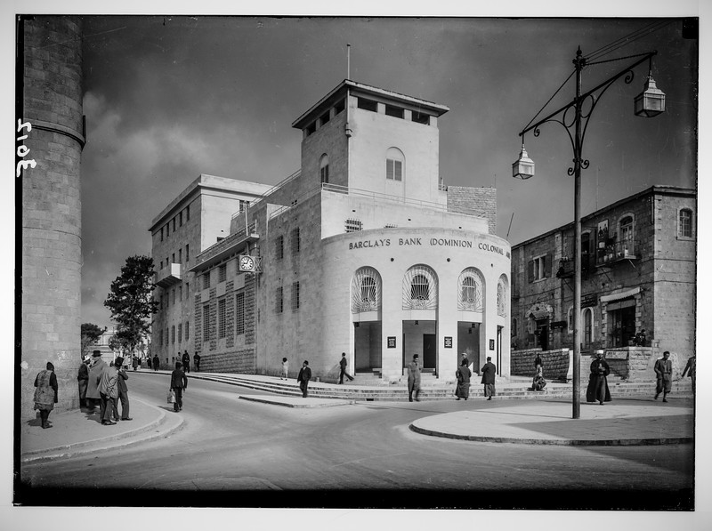 Newer Jerusalem and suburbs. New municipal building occupied by Barclay's bank and the municipality.  1932-1940
