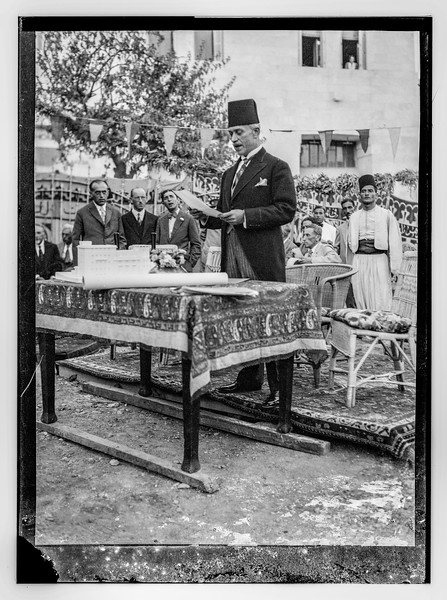 Arab speaking during dedication of building.  1930