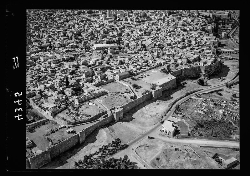 Jerusalem from the air (the Old City). Herod's Gate quarter.  1931