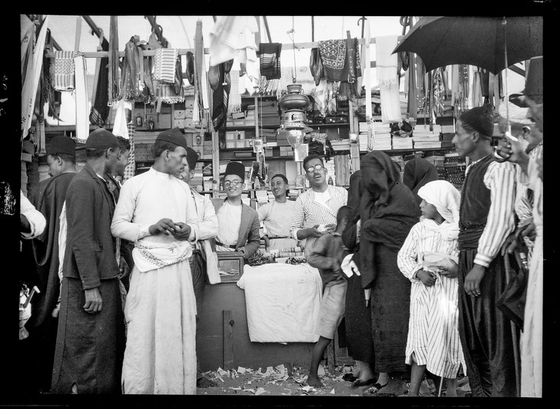 A typical dry goods stall in Nabi Rubin, southern Palestine. 1920-1933
