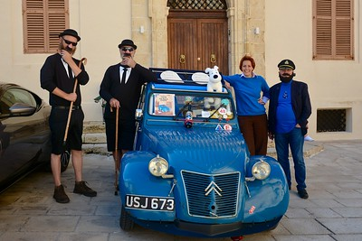 Tintin, Captain Haddock, the Thompson Twins, and Snowy make an appearance in Mdina, Malta.