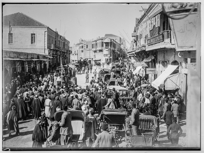 Steamroller on Jerusalem street.  1911-1917