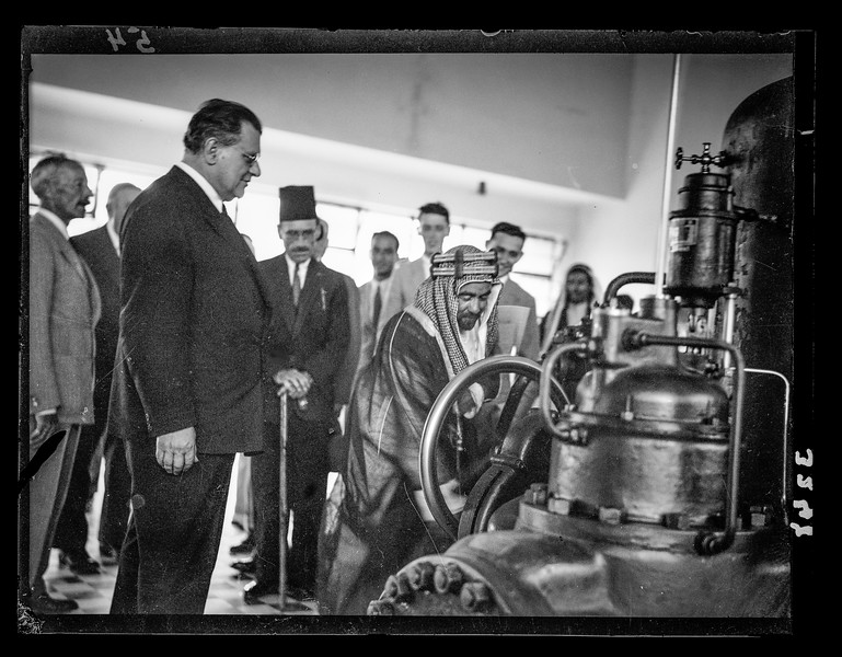Opening ceremony of the P.E.C. [i.e., Palestine Electric Corporation]  Jordan plant. H.H.Emir Abdullah starting turbines.  1933
