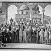 "65.  Group of boys school with Mufti of Jerusalem and notable visitors at the mosque.  ""The Noble"" Sanctuary, Jerusalem. 1921–1937"
