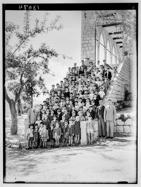 Mr. Oliver's school, Ras-el-Matn. School group on steps.  1940-1946
