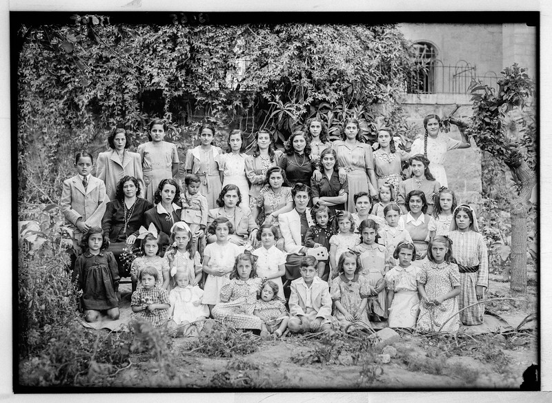 70.  Arab Ladies' Union.  Girls's school group in Musrara Quarter. 1940–1946