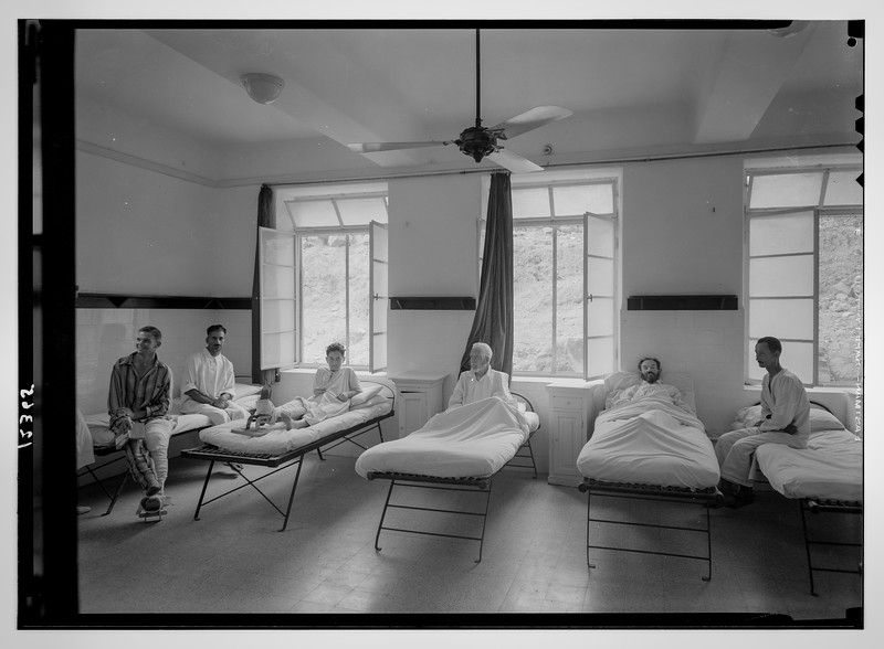 Scots Mission Hospital, Tiberias. Interior of dormitory, downstairs (ground floor).  1940-1946