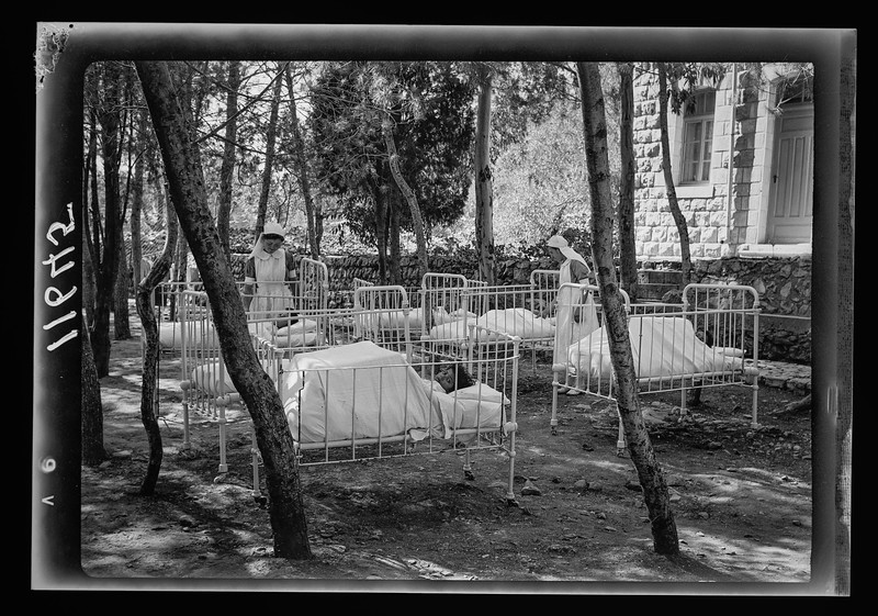 Safad. Baby cots in the hospital pine grove.  1940