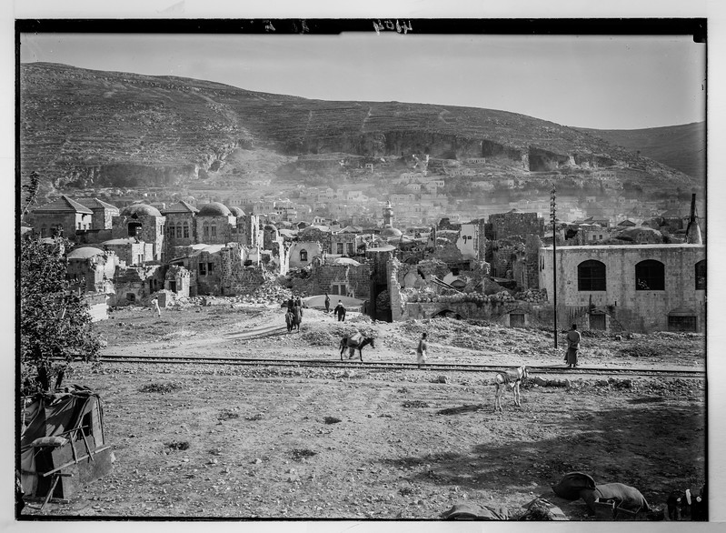 The earthquake of July 11, 1927. Nablus in a ruined state.  1927