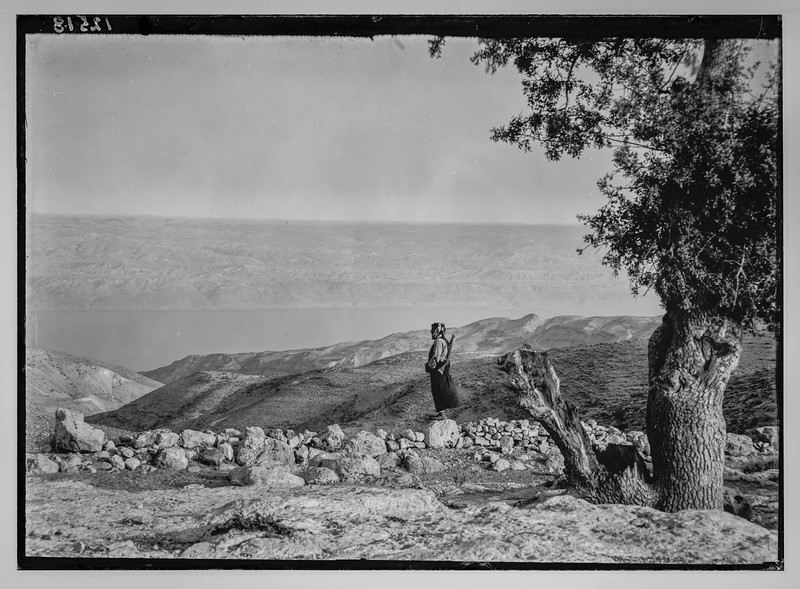 Dead Sea from eastern side looking west from Zerka.  1940-1946