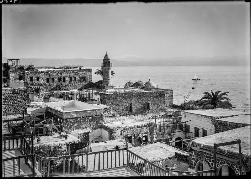 92.  Mount Hermon from Tiberias. Mosque in foreground. 1934–1939