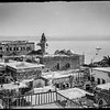 Mount Hermon from Tiberias. Moslem [i.e., Muslim] mosque in foreground.  1934-1939