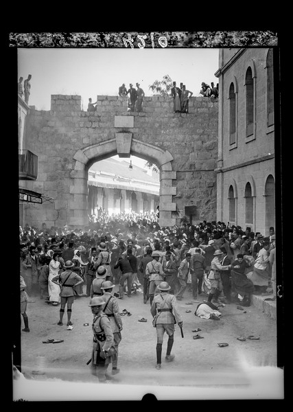 Arab demonstrations in Jerusalem and Jaffa.  Police cordon stopping the procession.  1933