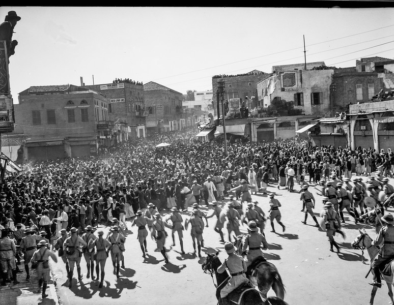 Arab demonstrators facing baton charge in Jaffa Gate. 1933