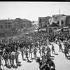 123.  Arab demonstrators facing baton charge in Jaffa Gate. 1933