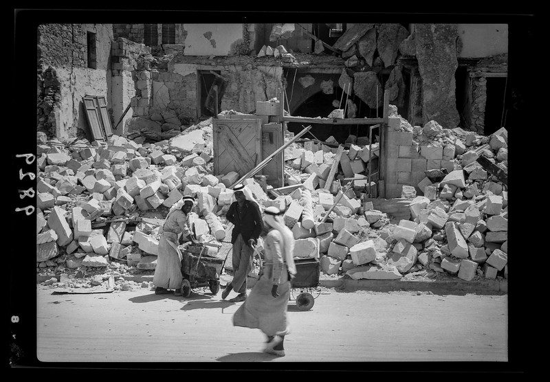 Jenin.  Inhabitants salvaging their house-hold effects.  1938