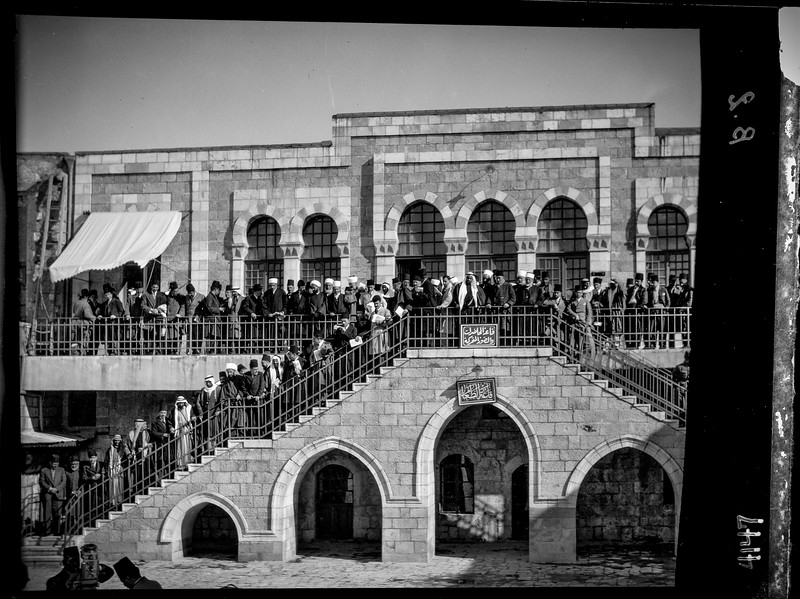 Arab meeting at the Rawdat el Maaref School on site of the Tower of Antonia, following uprisings against British policy in Palestine. 1929