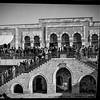 143.  Arab meeting at the Rawdat El Maaref School on site of the Tower of Antonia, following uprisings against British policy in Palestine. 1929