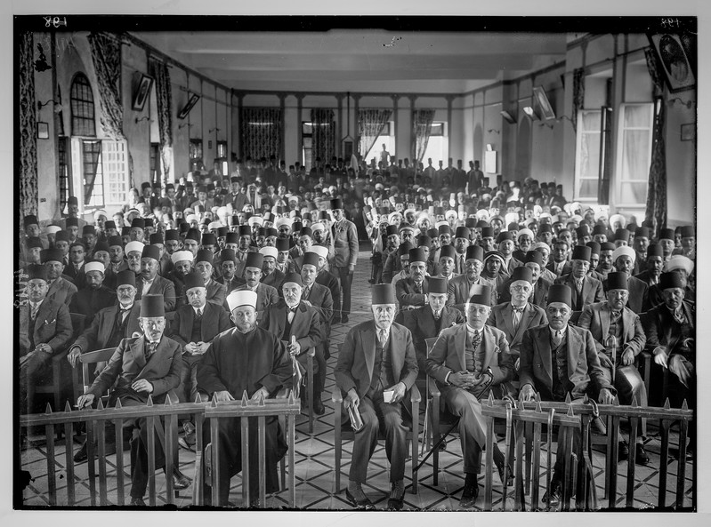 An Arab protest gathering against British policy in Palestine.   In the Rawdat el Maaref Hall.   1929