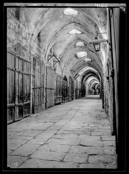 115.  The spice markets deserted. Taken during a general Arab protest strike. 1929