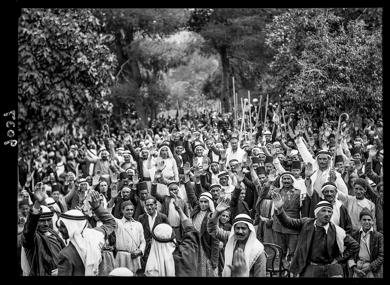 122.  Palestinian Arabs at Abou Ghosh taking the oath of allegiance to fight Zionist immigration. 1936