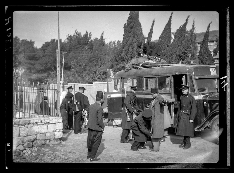 Searching an Arab bus for arms on the Jerusalem-Jaffa Rd.  1938