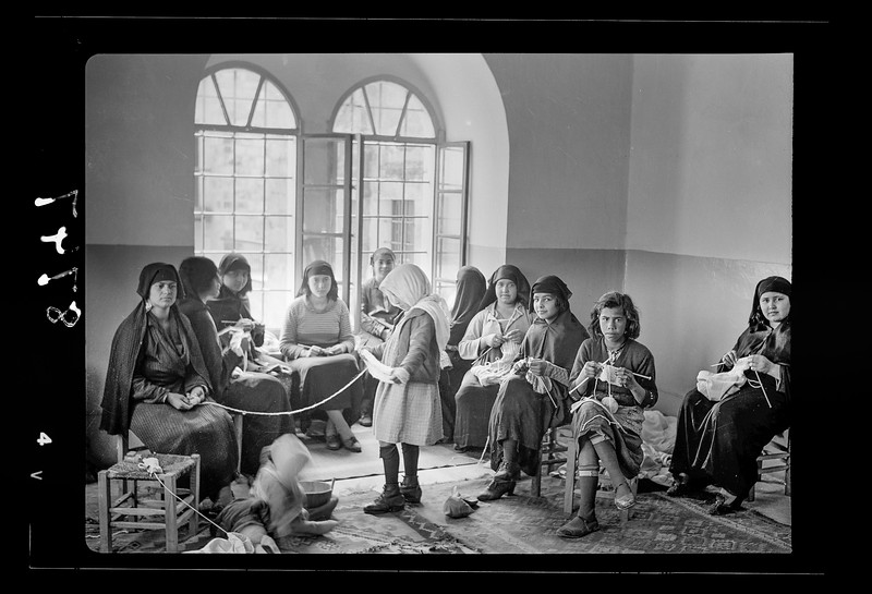 Women's Institute, Jerusalem. Arab women knitting in Old City.  1934-1939